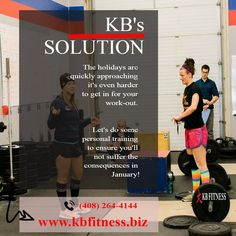 KB's solution to ensure you'll not suffer the consequences in January! Visit www.kbfitness.biz for infos #fitness #exercise #kbfitness