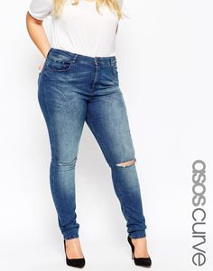 ASOS CURVE Ridley Skinny Jeans in Mid Wash With Ripped Knee