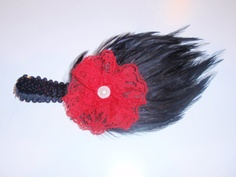 Bold Feather Pad Statement Headband with Lace by posiesnpinwheels, $9.99