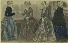 1845 American fashion plate showing a variety of late Romantic dress styles-  including the jacket and skirt combination