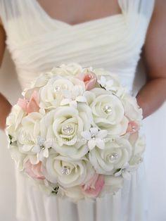 Vintage Wedding Bouquet Ivory white peach Rose Stephanotis posy diamante silk real touch flowers Beach Destination Bridal flowers