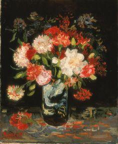 Vaso com cravos, verão 1886, Vincent van Gogh  Coleção do Museu Stedelijk de Amesterdam