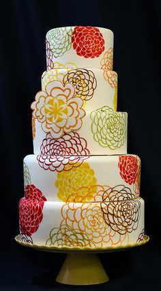 Painted Wedding Cake by Amanda Oakleaf Cakes, via Flickr