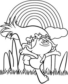 Trolls: Poppy And Rainbow Coloring Page Magic-Coloring Poppy Coloring Page, Bunny Coloring Pages, Monster Coloring Pages, Coloring Pages For Girls, Coloring For Kids, Trolls Birthday Party, Troll Party, Rainbow Dash, Rainbow Colors