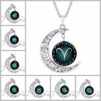 New Women's Fashion 12 Constellation Crescent Moon Glass Alloy Pendant Necklace for Women Ornament Long Chain Silver Plated Vintage Hallow Out Designer Jewelry Findings Sweater Collar Ornament Gift for Girls Friendship Trendy Charm Creative Chokers Necklaces & Pendants Accessories Hot Sale
