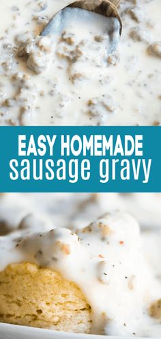 Sausage Gravy This was beyond easy to make and SO good! This sausage gravy, also known as sawmill gravy, is beyond easy to make! Needing less than a handful of ingredients, this hearty, comforting recipe comes together in just minutes. White Sausage Gravy Recipe, Homemade Sausage Gravy, Sausage Gravy And Biscuits, Recipe For White Gravy, Sausage Recipes, Meat Recipes, Cookie Recipes, Dinner Recipes, Breakfast Gravy Recipe Easy