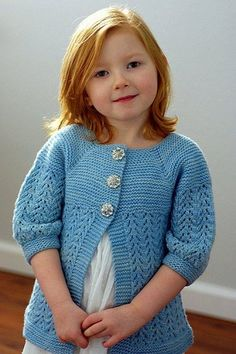 February Little Lady Sweater - Free Pattern (Beautiful Skills - Crochet Knitting Quilting) Baby Knitting Patterns, Knitting For Kids, Free Knitting, Knitting Needles, Girls Sweaters, Baby Sweaters, Sweaters For Women, Pull Bebe, Knit Cardigan Pattern