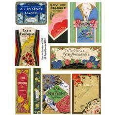 Vintage Art Deco Perfume Labels Digital Collage Sheet by rainebeau, $2.50