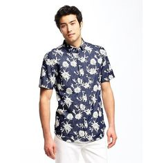 Old Navy Mens Slim Fit Floral Chambray Shirt ($15) via Polyvore featuring men's fashion, men's clothing, men's shirts, men's casual shirts, blue, mens chambray shirt, mens slim fit casual shirts, mens fitted short sleeve shirts, old navy mens shirts and mens short sleeve shirts