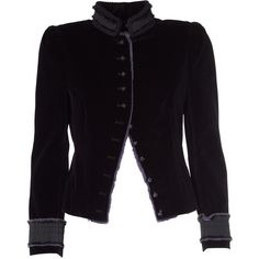 Marc Jacobs  Victorian Velvet-Cotton Jacket ($665) ❤ liked on Polyvore featuring outerwear, jackets, nero, victorian jacket, stand up collar jacket, long sleeve jacket, embellished jackets and velvet jacket