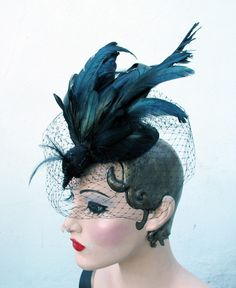 Birdcage Veil Womens Hat Fascinator Black Bird - Nevermore - Exotic Taxidermy - Batcakes Couture