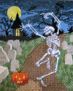 Sandra Gilmore Halloween  Needlepoint Canvas Enhancement class with Carolyn Hedge Baird