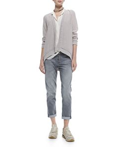Brunello Cucinelli Jersey Striped Gauze-Inset Cardigan, Lamé Scoop-Neck Tank & Button-Fly Jeans w/ Rolled Cuffs