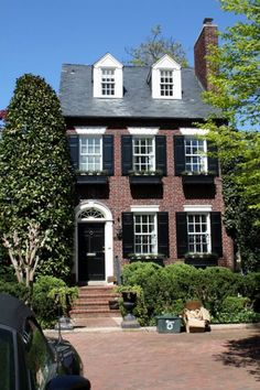 Exterior Paint Colors - You want a fresh new look for exterior of your home? Get inspired for your next exterior painting project with our color gallery. All About Best Home Exterior Paint Color Ideas Best Exterior Paint, Design Exterior, Exterior Paint Colors For House, Interior Exterior, Exterior Doors, Interior Paint, Colonial Exterior, House Shutters, Black Shutters