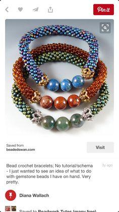 Bead crochet bracelets with gemstone beads Very pretty. Seed Bead Jewelry, Jewelry Art, Beaded Jewelry, Handmade Jewelry, Beaded Necklace, Jewelry Design, Jewelry Crafts, Netted Bracelet, Rope Bracelets