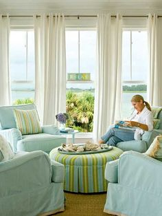 Pastel Living Room: This serene living room came together in a wash of pastels. To promote conversation, designer Jane Coslick opted for four chairs instead of the traditional sofa-centered seating arrangement Pastel Living Room, Beach Living Room, Coastal Living Rooms, My Living Room, Living Area, Coastal Cottage, Cottage Living, Small Living, Nantucket Cottage