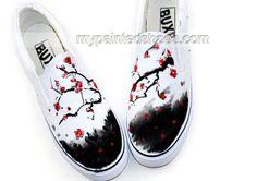 Chinese Wintersweet Inspired Aesthetic Hand Painted Canvas Shoes,Low-top Painted Canvas Shoes