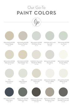 Our favorite paint colors (from left to right): Grant Beige (BM), Revere Pewter (BM), Wickham Gray (BM), Sea Salt (SW), Icy Morn (BM), Natural Cream (BM), Manchester Tan (BM), Moderne White (SW), Shoreline (BM), Simply White (BM), Anonymous (PPG/Porter), Salty Breeze (PPG/Porter), Ashwood (BM), Swiss Coffee (BM), White Dove (BM), Hale Navy (BM), Millstone Gray (BM), Urbane Bronze (SW), Rockport Gray (BM), Kendall Charcoal (BM).