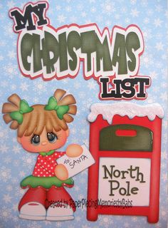 My Christmas List, patterns by Little Scraps of Heaven Designs and Treasure Box Designs Christmas Scrapbook Layouts, Scrapbook Titles, Baby Scrapbook, Scrapbooking Layouts, Scrapbook Cards, Christmas Paper Crafts, Christmas Pics, Paper Punch Art, Paper Piecing Patterns
