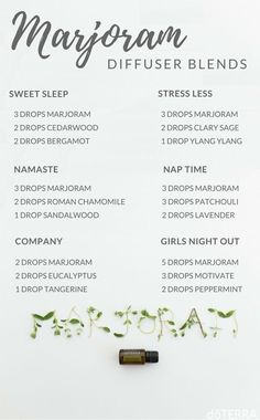 Diffuser Blends for using Marjoram essential oil. doTERRA essential oils consultant. #doterra #essentialoils #marjoram #EssentialOilBlends by lenora