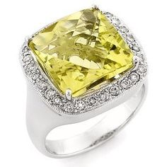 18K White Gold Yellow Topaz and Diamond Ring