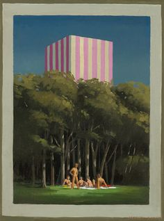 Jeffrey Smart First Oil Sketch for The Picnic 3 1979