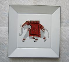 elephants sevice peinture sur porcelaine