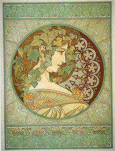 Laurel, 1901 by Alphonse Mucha. Art Nouveau (Modern). allegorical painting