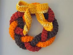 Crocheted Wreath. Just in time for Fall! ¯\_(ツ)_/¯  ☀CQ #crochet #crafts #DIY. Thanks for sharing!
