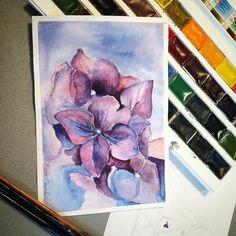 Продолжаю мучать бумагу. 😬Гортензия #акварель #watercolor