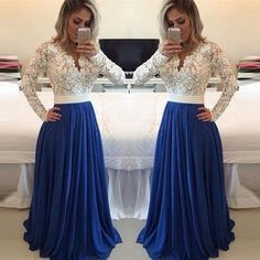 White Lace Royal Blue Long Sleeves Evening Gowns Prom Dresses LD029
