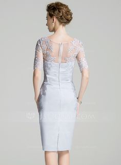 Sheath/Column Scoop Neck Knee-Length Satin Mother of the Bride Dress With Ruffle Appliques Lace (008072694) - JJsHouse