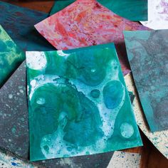 Make your own marbled paper using oil paints!