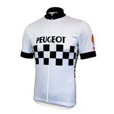 """Maillot vintage de l'équipe française """"Peugeot-Shell"""" que l'on retrouva dans le peloton dans les années 80."""