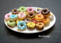 1:12 scale Dollhouse Miniature Donuts, Assorted, cute, kawaii, Petit, Mini, Sweets, Pastry, patisserie, Bakery, Cafe, Cake Shop, puki, Lati by BEADSPAGE on Etsy