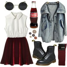 Acid washed by hanaglatison on Polyvore featuring Dorothy Perkins, round sunglasses, burgundy, velvet, top, anorak, white, coke, crop and socks