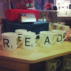 These awesome Scrabble mugs just arrived. We love them!