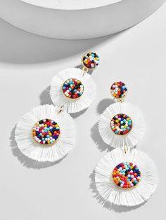 New diy jewelry earrings jewelery ideas Tassel Jewelry, Fabric Jewelry, Clay Jewelry, Jewelry Crafts, Gemstone Jewelry, Beaded Jewelry, Jewelery, Silver Jewelry, Fine Jewelry