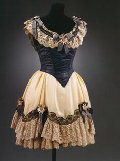 1919 Theatre costume by André Derain for the Can-Can dancer in Massine's ballet 'La Boutique fantasque' Blue bodice, black and white lace straps trimmed with daisies on blue bows (off-white skirt is a replacement) V&A Museum Theatre Costumes, Ballet Costumes, Baby Costumes, Ballet Russe, Custom Dance Costumes, No Sew Tutu, Ballet Tutu, Ballet Dance, Batik Dress