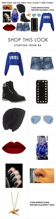 """Everyone likes a good girl gone bad"" by unknownandloveit on Polyvore featuring MSGM, MANGO, Timberland, Valentino, Laundromat, Ray-Ban and Alex Monroe"