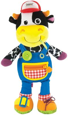 A soft and cuddly bovine friend for baby to interact with, the Lamaze Farmer Fred Activity Doll helps develop fine motor skills and encourages hand eye coordination. He also helps baby learn a variety of basic dressing skills including buttoning his overalls, fastening his overalls, zipping his pocket, buckling his shoe and tying his other shoe. With his colorful satin ribbons, bright patterns, and different textures, Farmer Fred provides tactile fun and is perfect for hours of imaginative…
