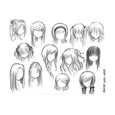 anime/manga hair (: found on Polyvore featuring polyvore, drawings, fillers, doodles, hair, art, quotes, text, saying and scribble