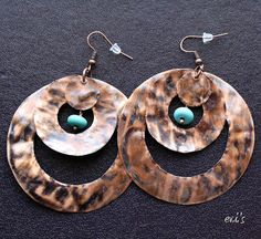Handmade Hand Cut Oxidized Hammered Large by EVIsMetalworkJewelry, €14.00