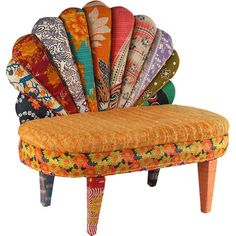 Indulge your wanderlust and add boho flair to any room with this peacock-style loveseat, showcasing a mango wood frame wrapped in vintage kantha cloth uphols...