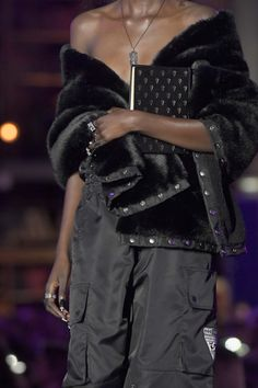 A model, outfit detail, walks the runway during FENTY x PUMA by Rihanna Fall / Winter 2017 Collection at Bibliotheque Nationale de France on March 6, 2017 in Paris, France. Fw17