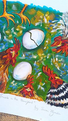 Chickens Art Painting Eggs Acrylics Original Art. I love the colors used in this piece.