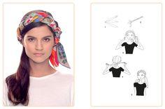 Ce nouage «Bandeau Tressé» est réalisable avec trois carrés 70x70 cm. Jouez avec votre carré Hermès avec l'application Silk Knots! #Hermes #Silk #SilkKnots