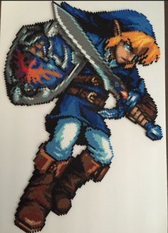 LoZ Link Perler Bead Sprite inches tall, 20 inches wide) by Amber--Lynn - Original pixel art by Abyss Wolf Perler Bead Designs, Perler Bead Art, Pearler Beads, Fuse Beads, The Legend Of Zelda, Pixel Art Objet, Stitch Games, Art Perle, Graph Paper Art