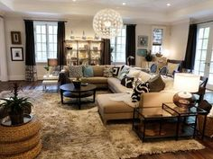 Family Room with Hardwood Flooring and Netural Sectional Sofa