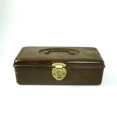Brown Tackle Box, Vintage Metal Storage Box, Craft Box by OldRedHenVintage on Etsy